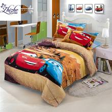 Cartoon styles 3D car race printed cotton duvet cover set