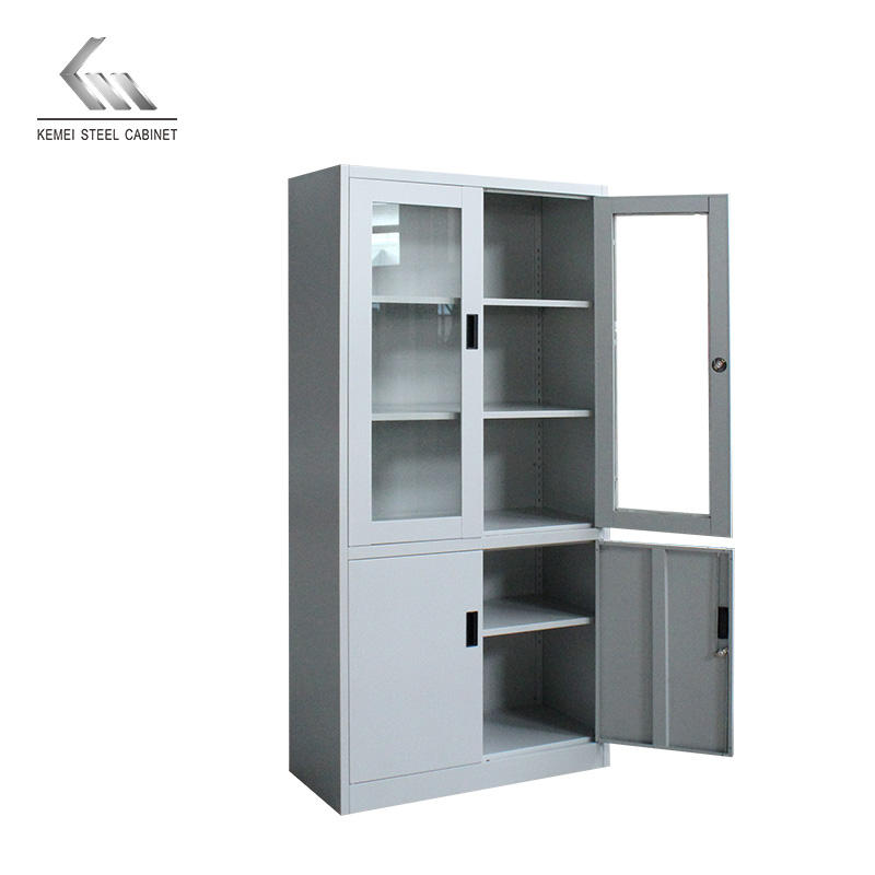 Customized glass 4 door cabinet furniture filling cabinets with black plastic handle