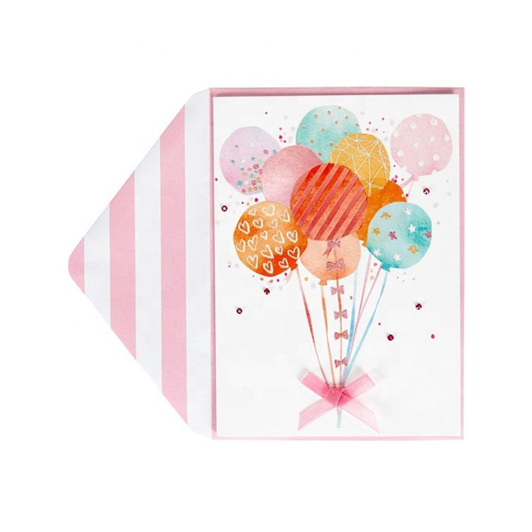 Handmade Colorful Cute Glitter Balloon Cards, High Quality Paper Funny Birthday Greeting Cards