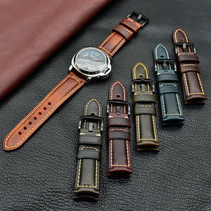 20/22mm replacement oil wax leather watch band handmade genuine leather watch strap for Men Women Christmas Gift