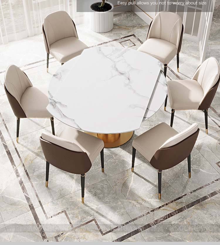 Light luxury rock board dining table modern minimalist small apartment household rotating telescopic folding variable round dini