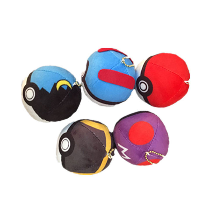 Cheap price 8x8cm pokemon go colorful pokeball plush