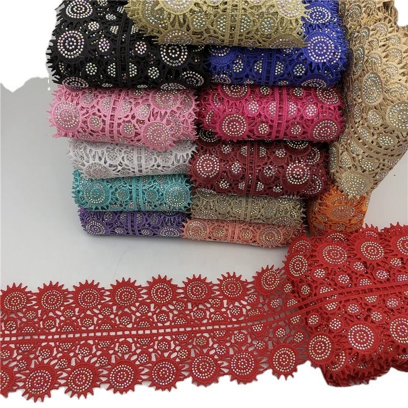 2020 new Polyester Africa french flower lace trim with beads rhinestone trimming