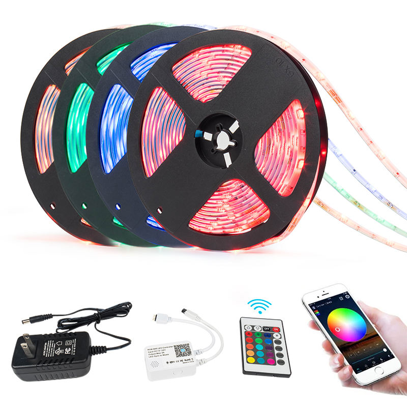 Copper [ Rgb Led Strip ] Led Led Rgb Strip Smart Voice Control Flexible 5050 RGB Waterproof Fita Tiras Cinta Luces LED Alexa Strip Lights 5m 12v Bande With Remote Control