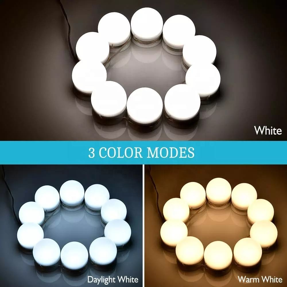 Beauty Care Hollywood Style LED Vanity Mirror Lights Dressing Table Cosmetic Lamp Kit with 10 Dimmable Mirror Makeup Light Bulbs