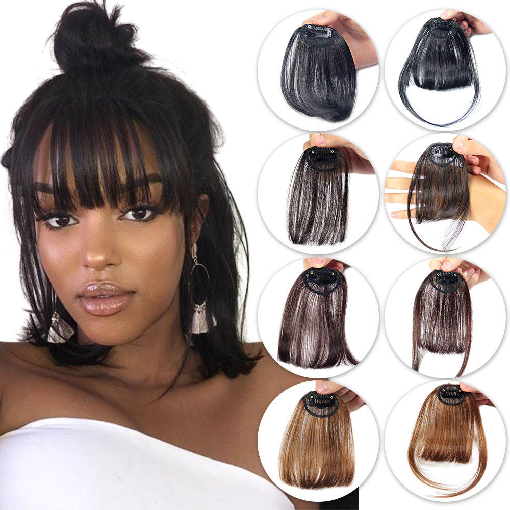 Brazilian Pieces Human Hair short bob wigs with Clip In Bangs, Human Hair Bangs Fringe For Woman