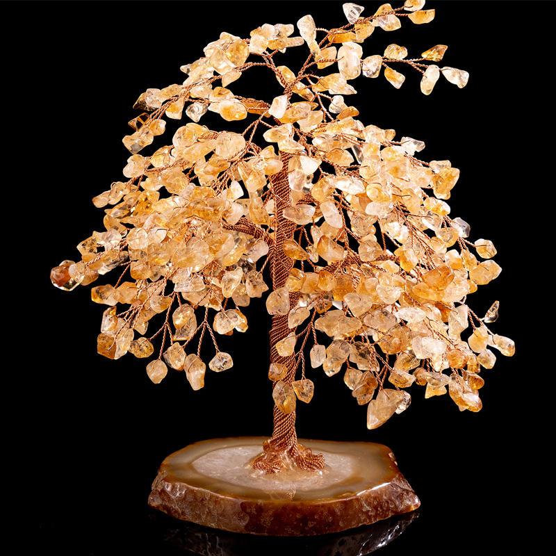 Wholesale Natural Rose Quartz Stone Natural Citrine Fortune Tree Home Decoration Natural Agate