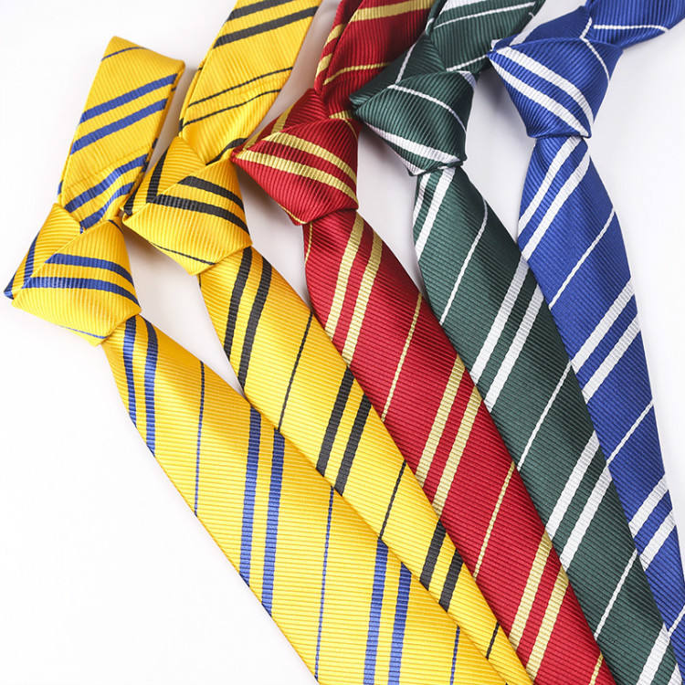 Students College Style School Boys Uniform Red Striped Polyester Necktie Harry Potter Ties