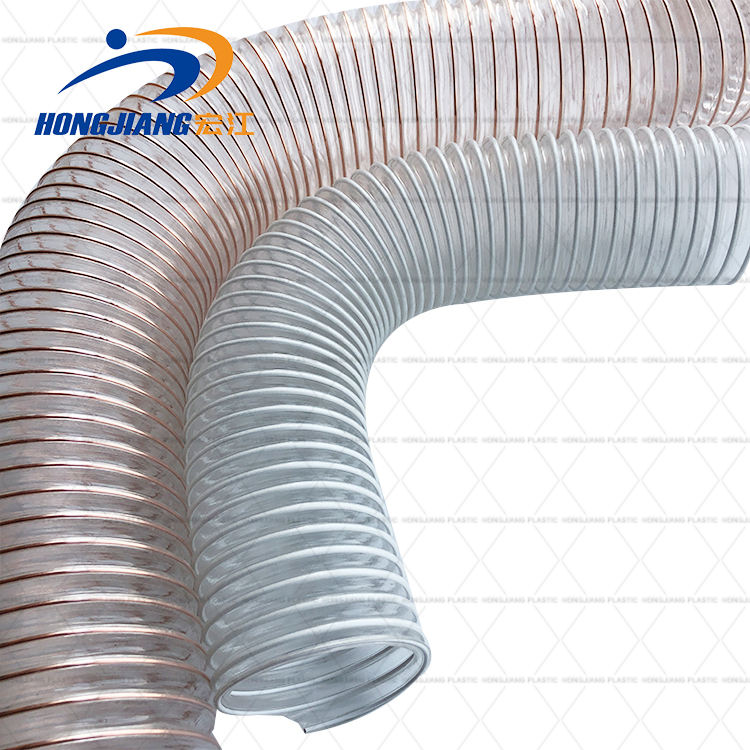 Factory made small bending radius helical steel wire reinforced dust removal ventilation hose