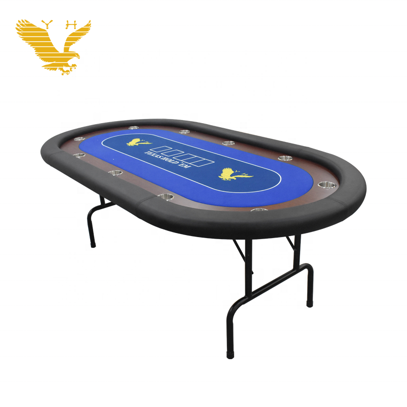 YH 10 Players Texas Holden Poker Table Casino Folding Poker Table with Padded Rails & Cup Holders