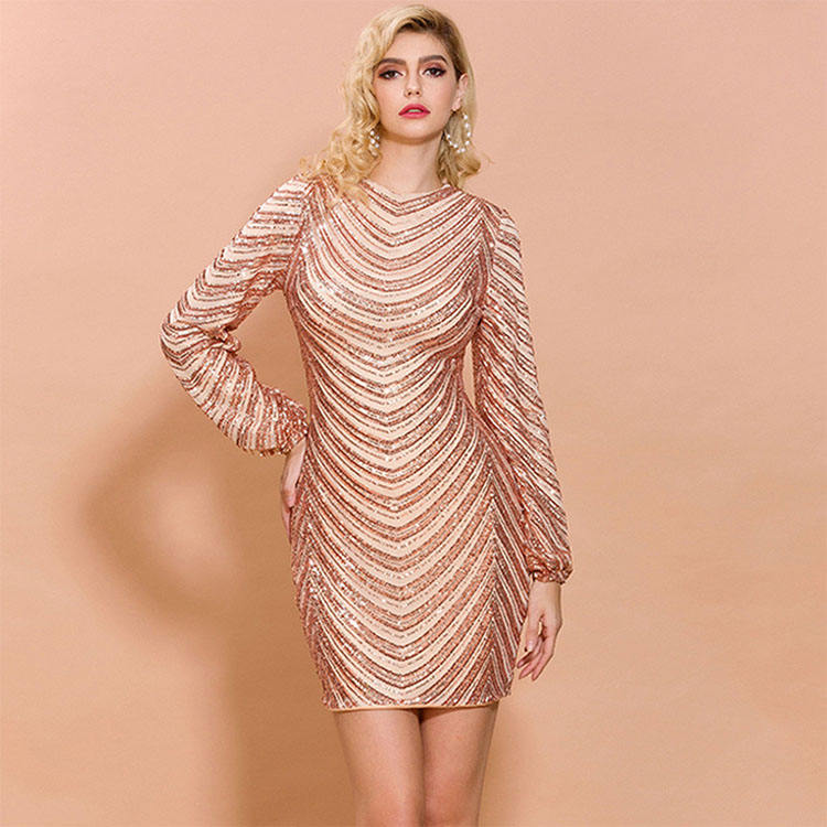 Unique Design High Quality Evening Long Sleeve Short Sexy Gold Sequin Party Dress