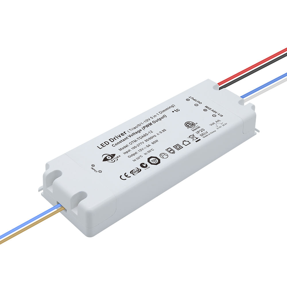 OTM-TD60-AS12 Etl Cetl Fcc Rohs 12V Triac <span class=keywords><strong>Dimbare</strong></span>/0-10V/1-10V/10V Pwm/Potentiometer( 5 In 1) <span class=keywords><strong>dimbare</strong></span> 60W Led Driver