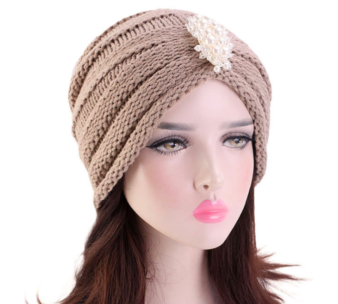 H-0495 Wholesale women new bandanas turban winter knit cap center cross hair scarfs boho knitted muslim hat warm