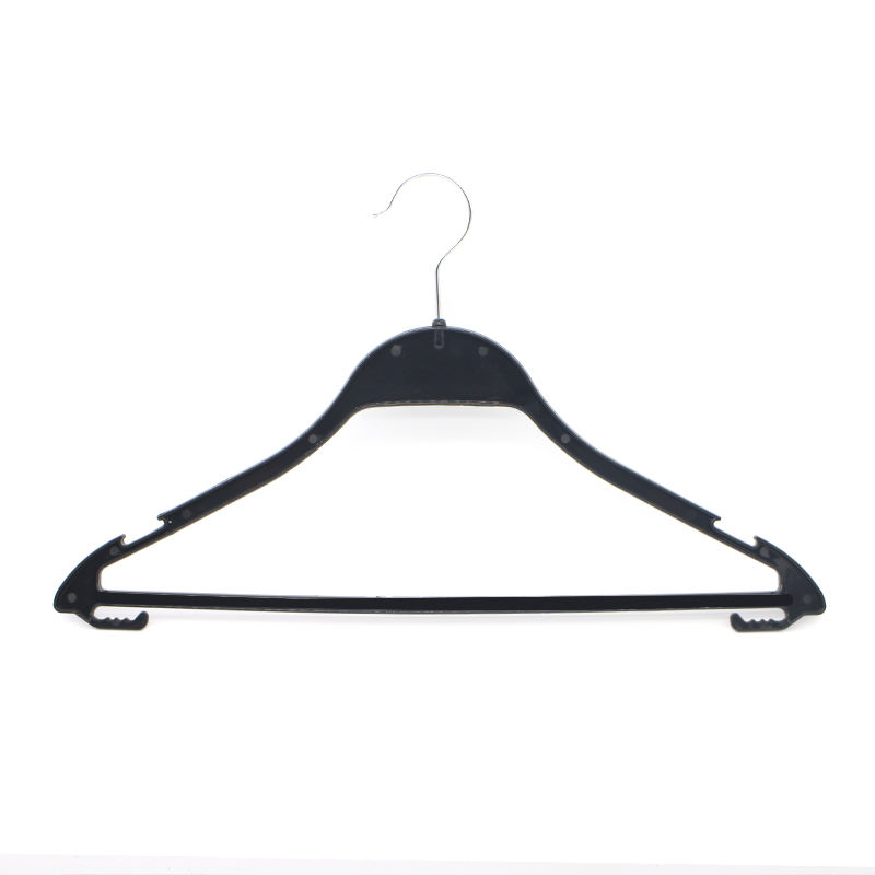 wholesale printed logo black plastic clothes Hanger for clothes