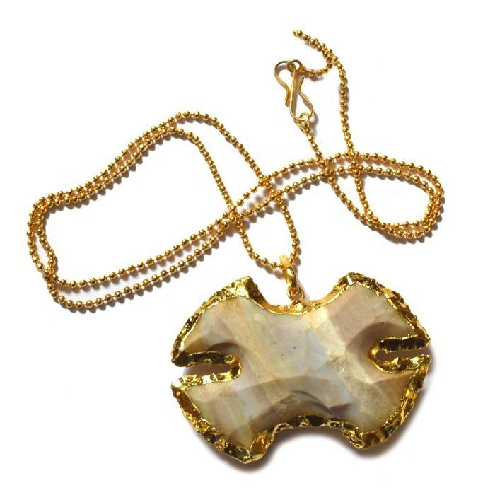 Agate Kervini Type Arrowhead Necklace - Electroplated Arrowhead Necklace