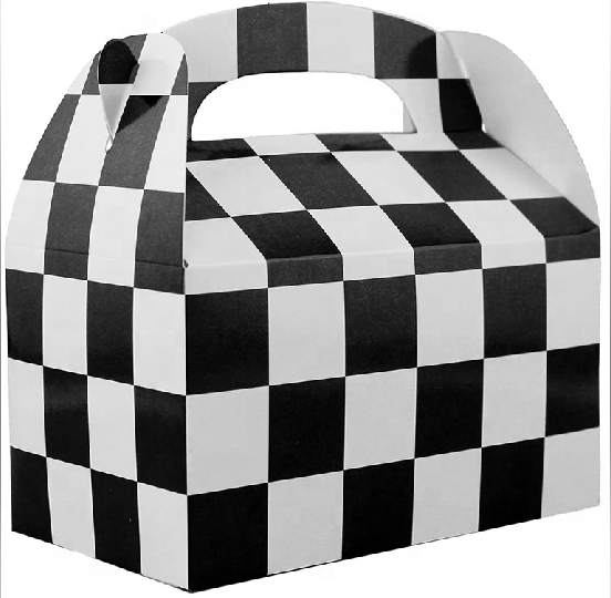 Top Black White Checkered Racing Party Favor Boxes with Handles
