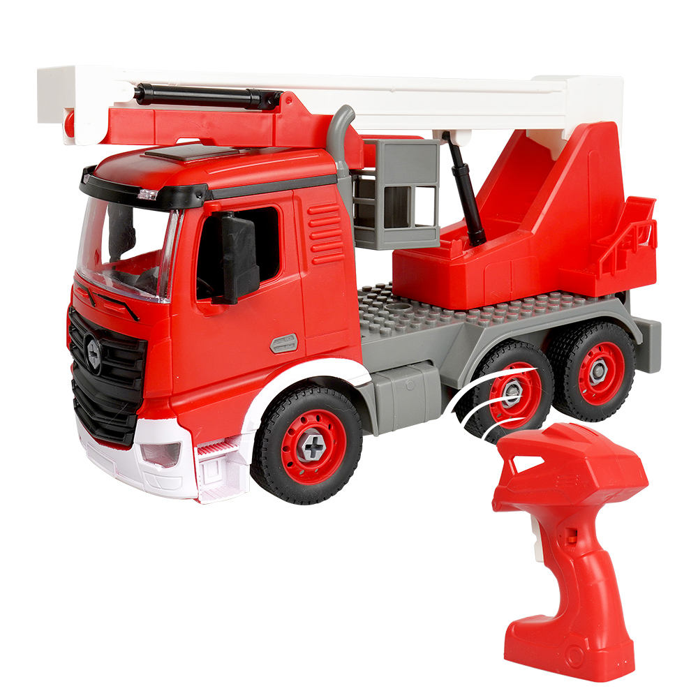 Huiye 2021 gift promotion DIY fire fighting toys with remote control 2.4g 1:14 fire truck toy Carro de control remoto