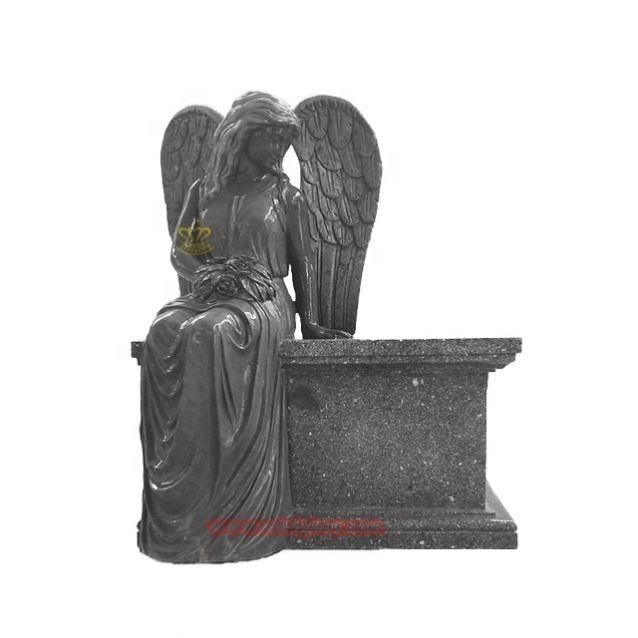 Hight Quality Custom Designs Black Marble Wings Angel Statue Tomb Stone