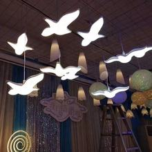 Ceiling Decoration Supplies Glowing Seagull Chandelier Acrylic Wedding Background Layout Stage