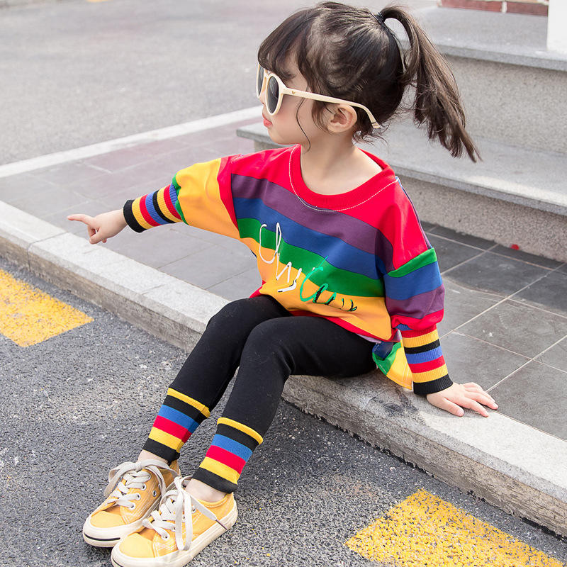Girls Fashion Children's Long Sleeve Set Striped Tops Leggings Kids Set