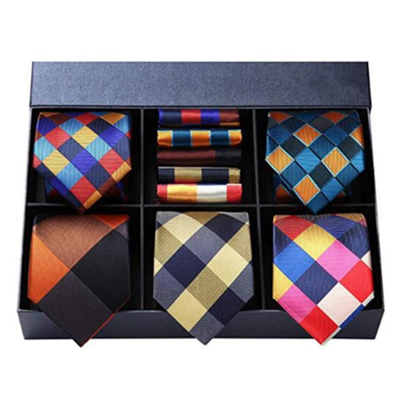 Grid necktie gift sets 100% silk jacquard woven ties wholesale neck tie