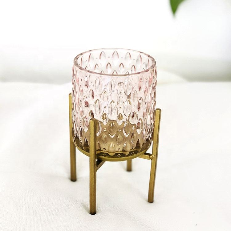 Hot sale customized empty amber glass candle jar candle holder with stand