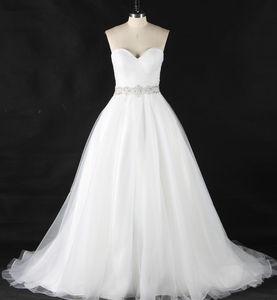 A-line Sweetheart Beaded Belt Pleat Lace up Backless Sweep Train Wedding Dress Bridal Dress