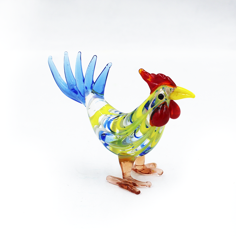 Farm MINIATURE HAND BLOWN Art GLASS Multi Colors Rooster Chicken Animal FIGURINE