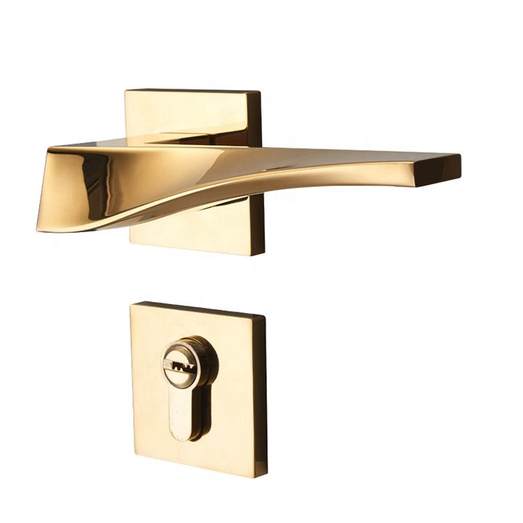 YONFIA new luxury rose gold zinc alloy door lock modern minimalist door handle