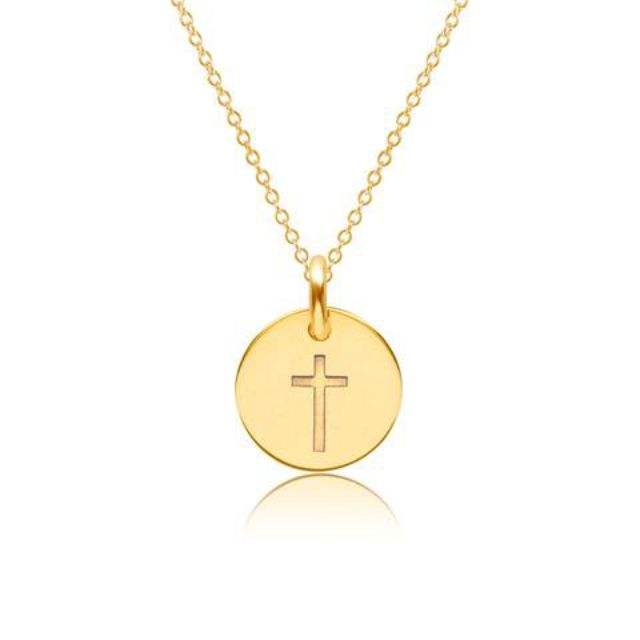 Jewelery Wholesale Women Religious Jewelry Jesus Custom Minimalist Gold Cross Necklace Gold Disc Coin Engrave Pendant Necklace