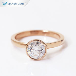 Tianyu Customized 14k 18k rose gold ring round heart and arrow moissanite bezel engagement ring
