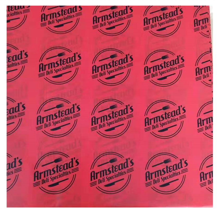 NEW DESIGN RED PAPER with Black printing 12 x 12 inch Deli Sandwich Wrap Paper