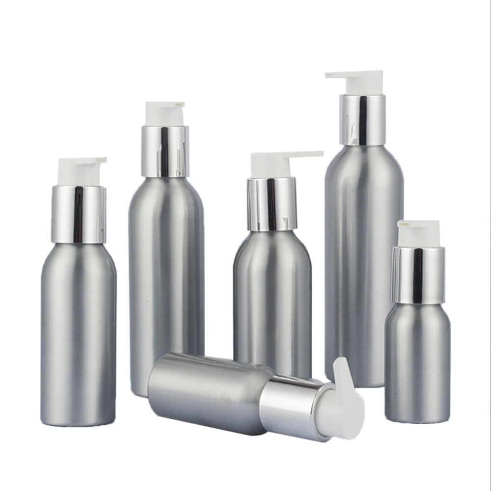 40ml 50ml 100ml 120ml 150ml 250ml cosmetic packaging aluminum bottle pump for lotion/serum wholesale