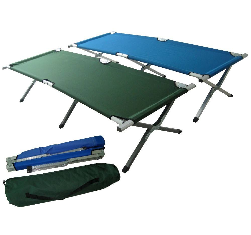 Portable factory modern wholesale folding aluminium camping bed foldable custom cot with test report