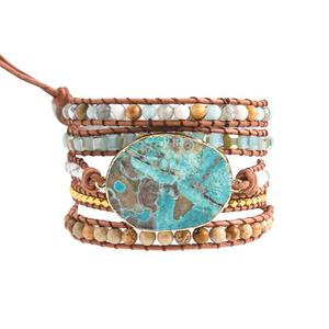 Charm Latest 2019 - 5X Leather Wrap Beaded Huge OceanStone Bracelet, Boho Chic Jewelry, Valentine's Gift