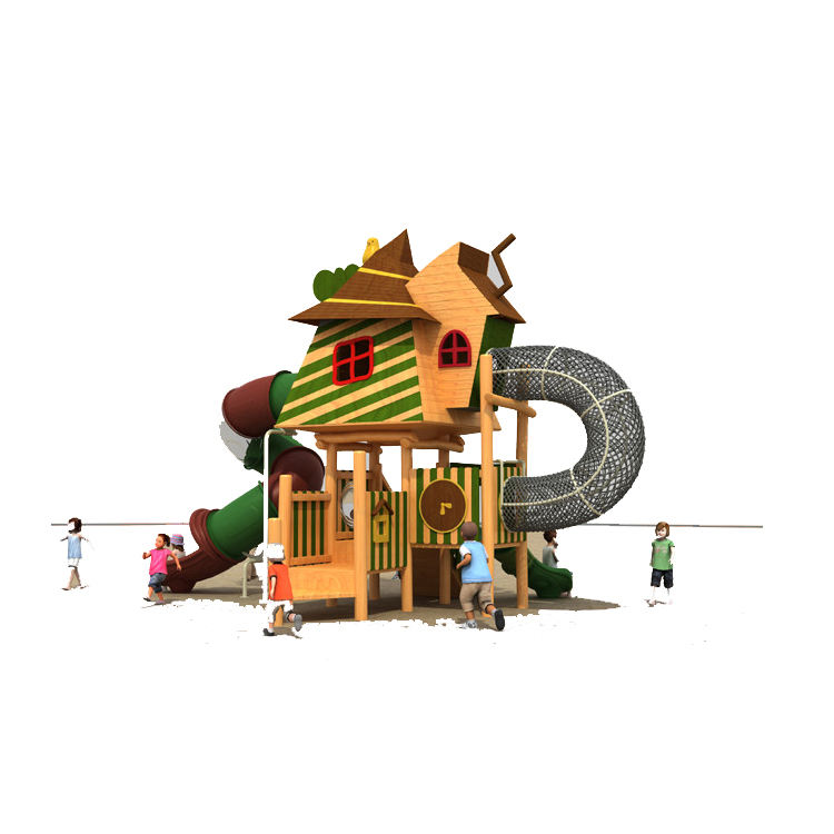 Outdoor Amusement Park Physical Series Play Game With Wooden Playhouse For Children