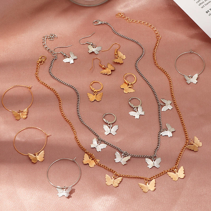 Delicate Elegant Insect Butterfly Necklace for Women Pendants Stainless Steel Sweater Chain Lovely Necklaces
