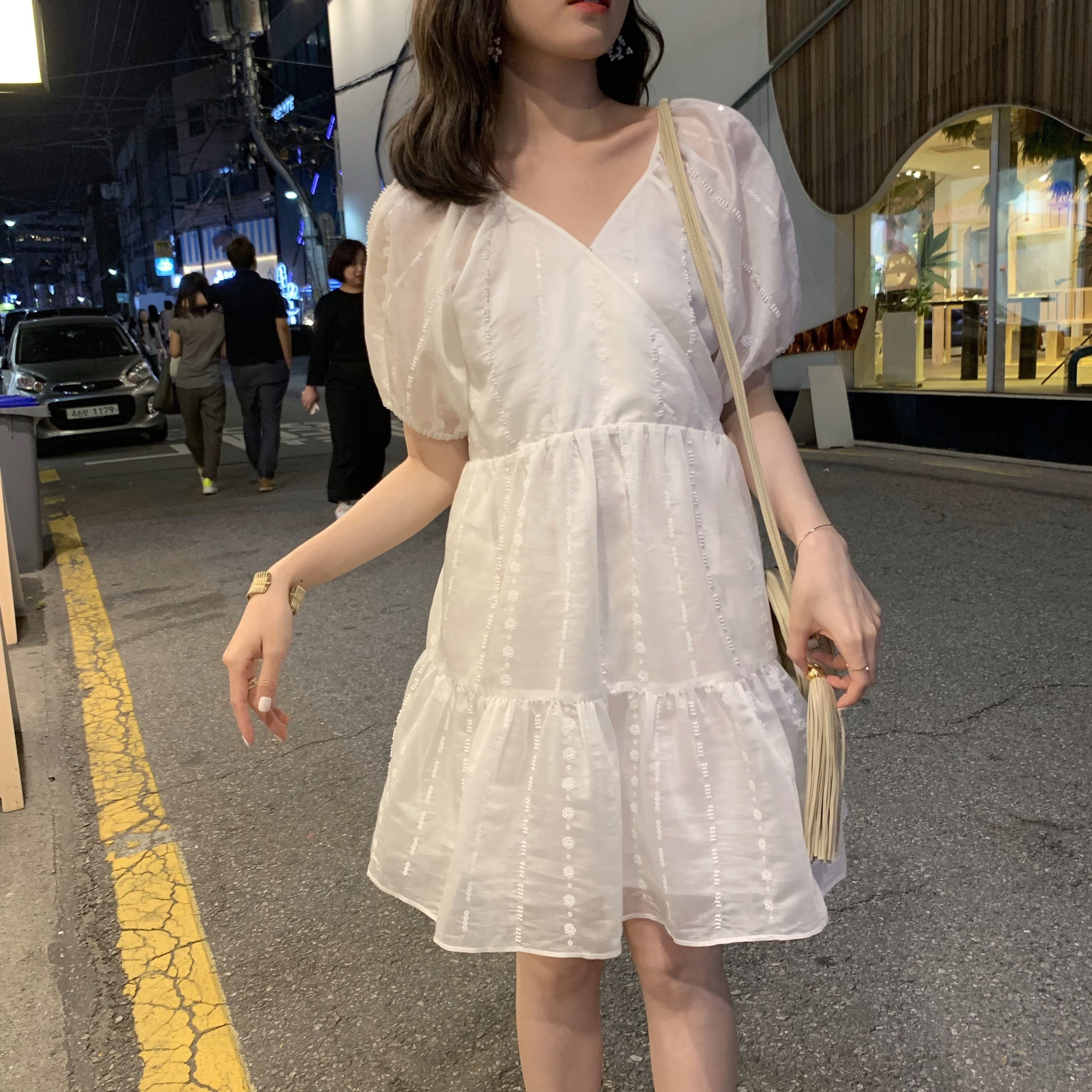 ASM ANNA Professional supplier elegant stylish high - grade bead short sleeve dress with waist closure