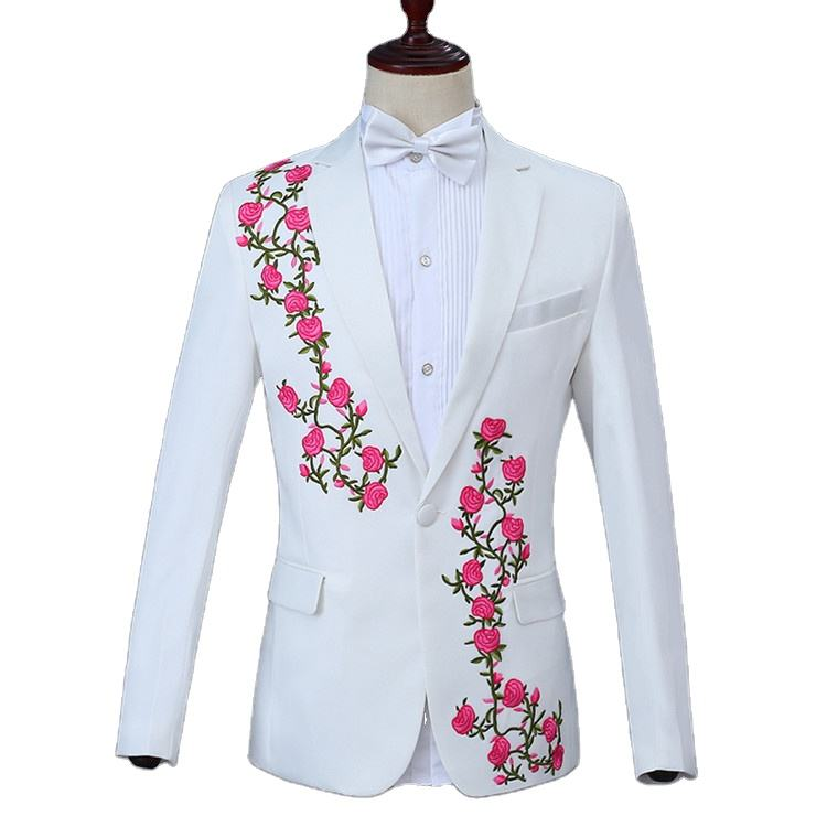 New arrival design polyester viscose ternos performance embroidered white suits sets slim fit 2 pieces suits for men