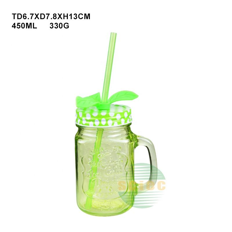 Best selling 4 oz 8 oz 12 oz 16 oz 20 oz 32 oz glass mason jar with handle and metal lid straws