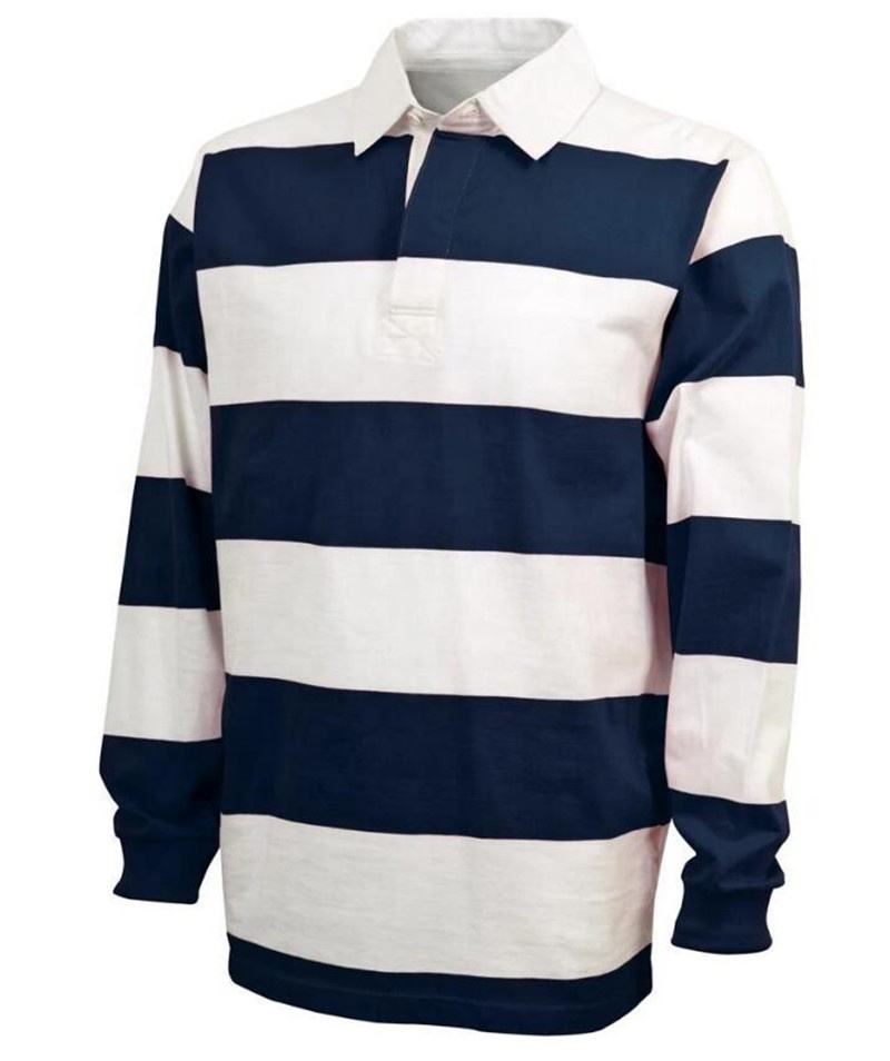 Custom mens long sleeve tackle twill embroidery striped classical cotton rugby polo shirt