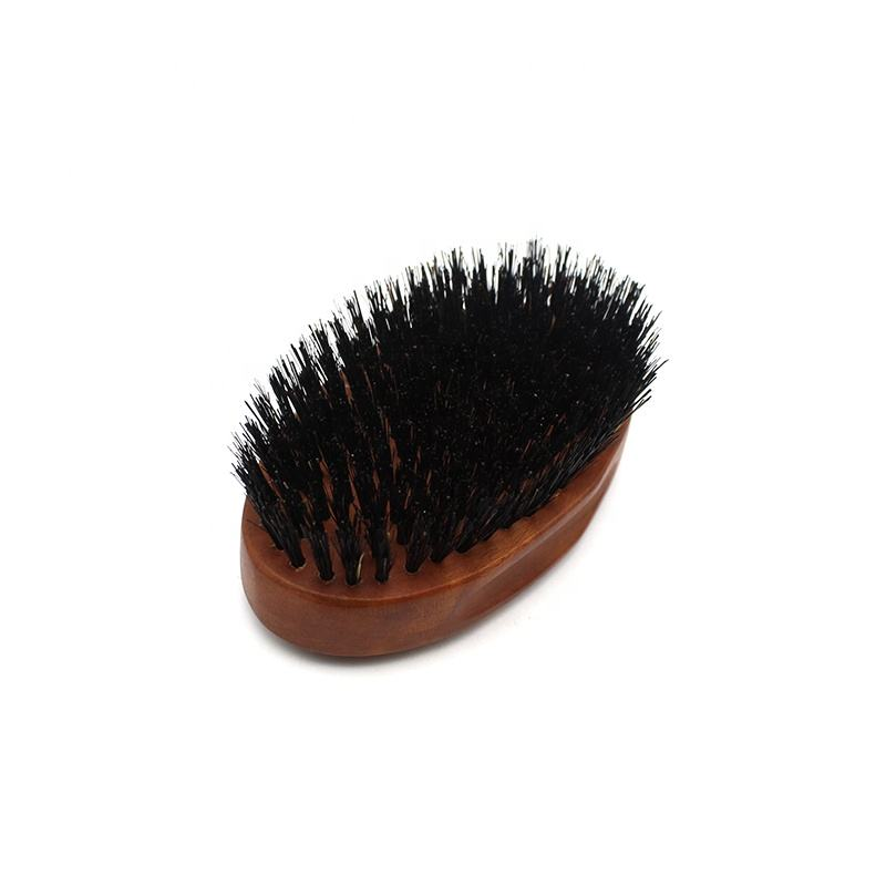 Custom premium oblique stiff pure boar bristle beard brush wholesale in oval shape