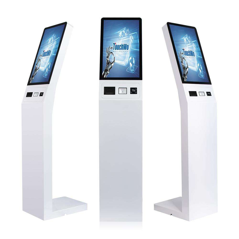 Cheap 21.5 inch capacitive touch screen all in one pc kiosk with barcode scanner, Thermal printer