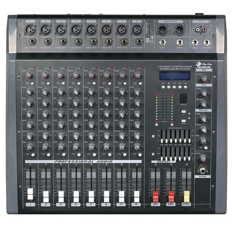 Professionale 8 canali della fase del dj di sistema <span class=keywords><strong>audio</strong></span> mixer console con <span class=keywords><strong>amplificatore</strong></span> <span class=keywords><strong>audio</strong></span> PMX808D