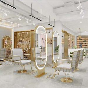 Barber shop mirror hair salon dedicated hot dyeing floor double-sided mirror LED hairdressing mirror