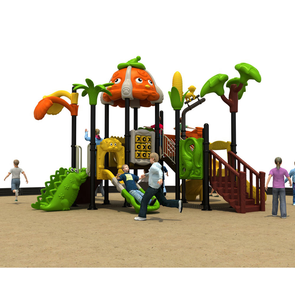 Popular New Obstacle Adventure Park Wooden Kids Outdoor Playground Toy With Big Slides