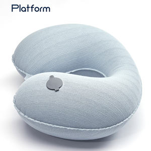 Auto Press Pump inflatable travel neck pillow with bag New Fashion Air Filled TPU U shape foldable flocked Neck Pillow