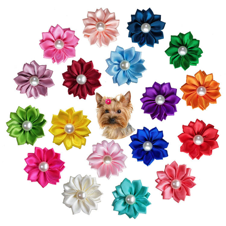 Fashion pet bowknot rubber band small animals petal shape pearl hairpin jewelry accessories for dog