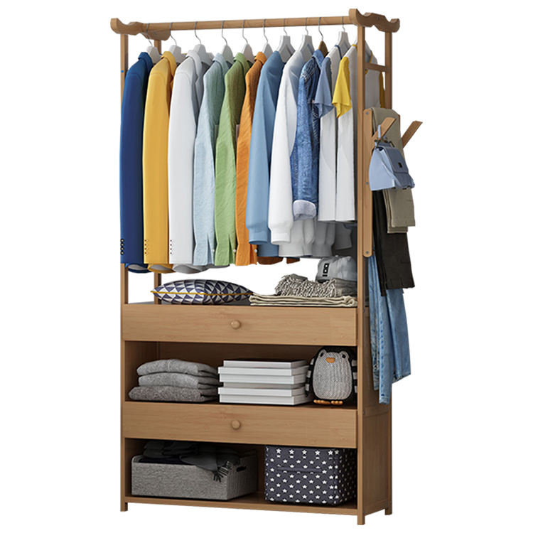 Multipurpose Clothing Shoes Organizer Stand Coat Hanging Rack with drawers Storage Shelves