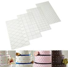 4pcs/Set Grid Transparent Texture Mat Cake Border Decorating Tool Cake Mold